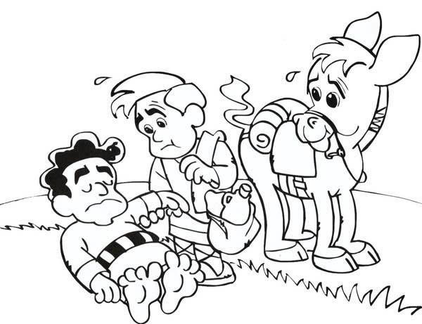 The Good Samaritan Coloring Page Cartoon of Good Samaritan Story Coloring Page NetArt