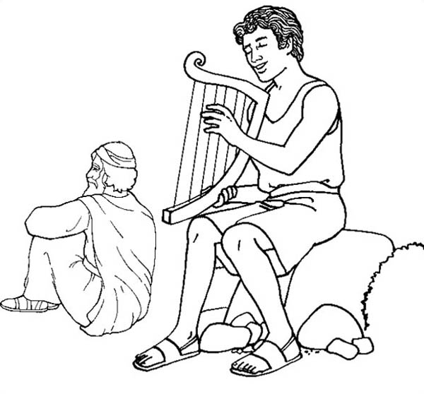 David Play Harp in the Story of King Saul Coloring Page ...