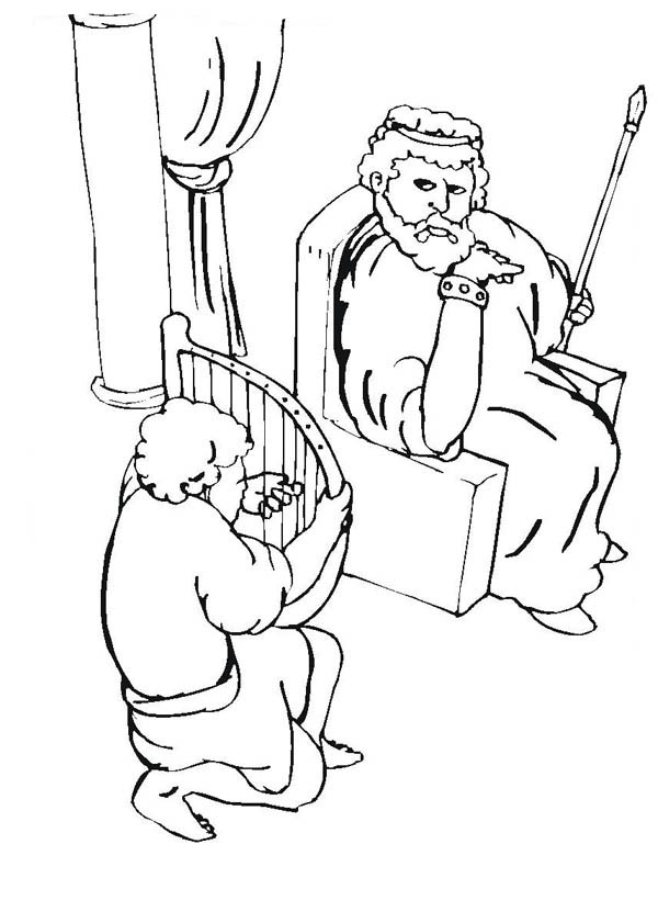 King saul coloring pages for kids ~ David Plays Harp for King Saul Coloring Page - NetArt
