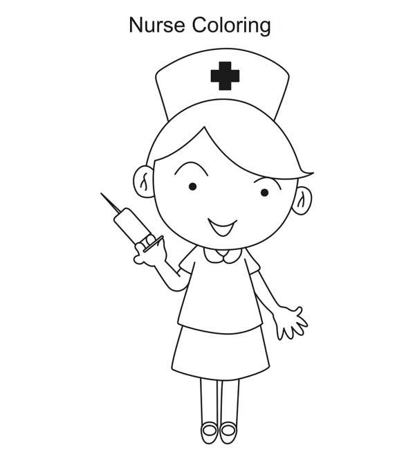 Nurse with Syringe Coloring Page - NetArt