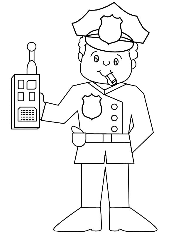 police officer with walkie talkie coloring page  netart