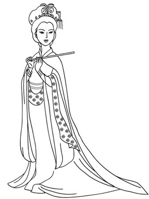An Ancient China Drawing Of A Lady Coloring Page Netart