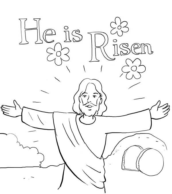 He is Risen in Jesus Resurrection Coloring Page - NetArt