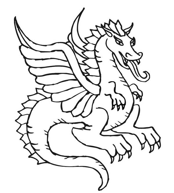 Beautiful Flying Dragon in Chinese Symbols Coloring Page ...