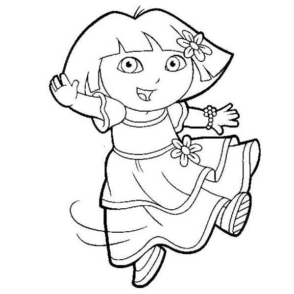 Dora is Dancing in Dora the Explorer Coloring Page - NetArt