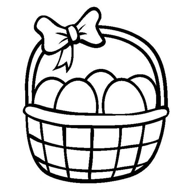 coloring page easter basket with eggs coloring pages