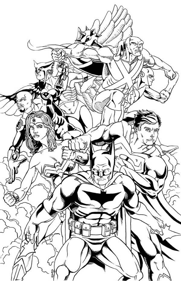 Justice League of America Coloring Page for Kids - NetArt