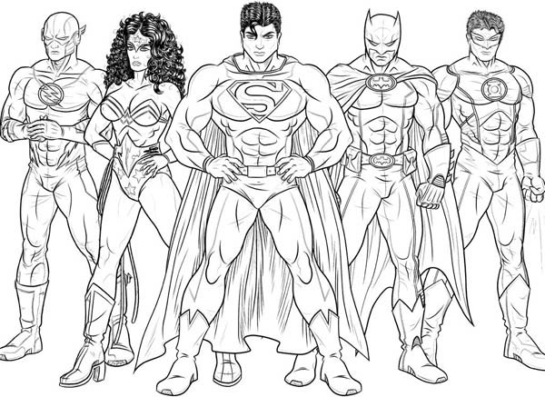 Kids Drawing of Justice League Coloring Page - NetArt