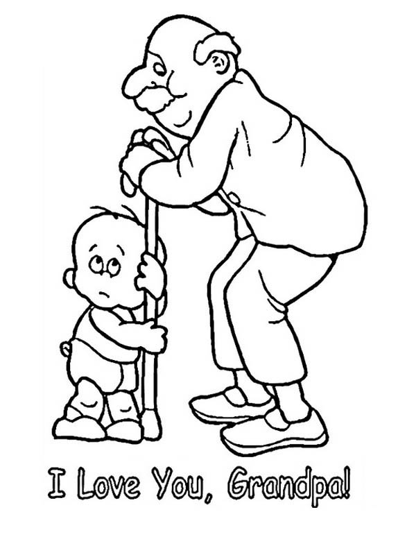 Print coloring picture grandpa and girl