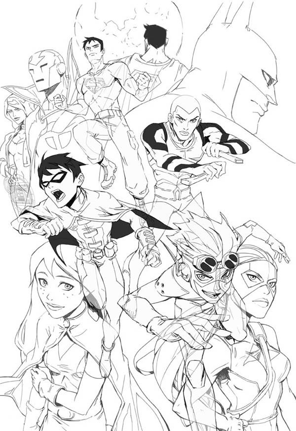 Young Justice League Picture Coloring Page - NetArt