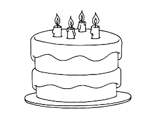 Birthday Cake Coloring Pages - NetArt