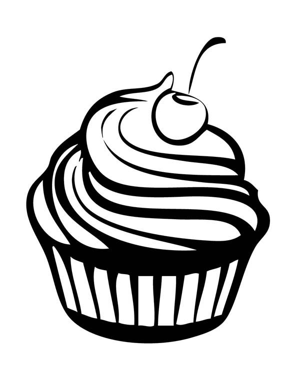 Cherry Cupcakes Coloring Pages - NetArt