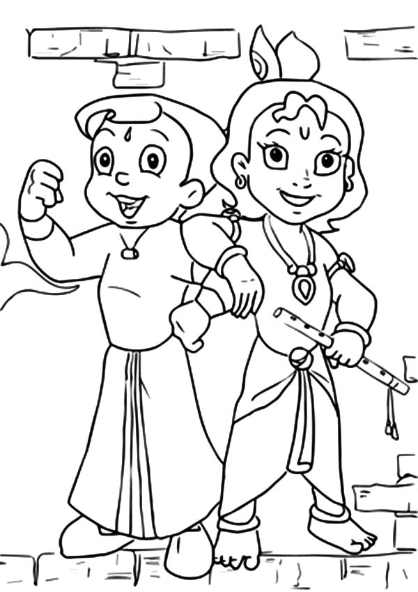 chota bheem drawing for coloring pages | Chota Bheem Posing with Krishna Coloring Pages - NetArt