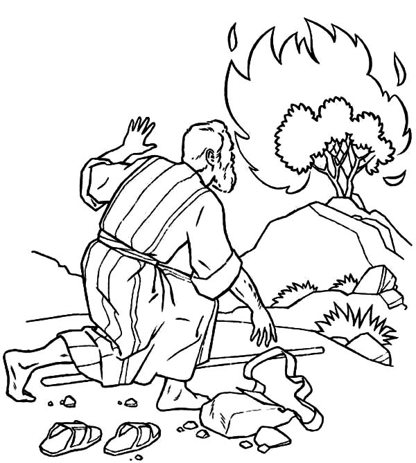 Moses Listen to God Through Burning Bush Coloring Pages ...